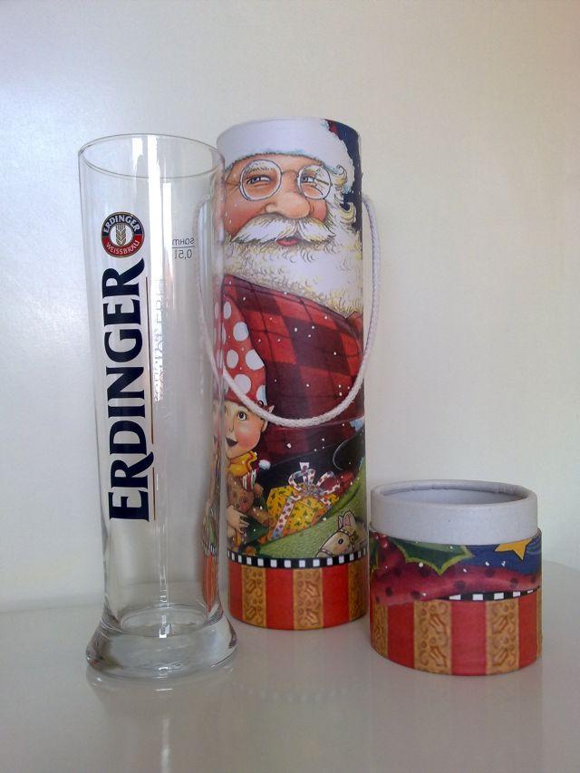 Erdinger Bierglas mit Verpackung