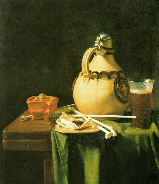 Kan van Anraadt , Glas Bier en Rookgerei op een Tafel